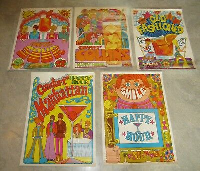 Set of 5 Old Vintage 1970's SOUTHERN COMFORT Whiskey Happy Hour POSTERS - RETRO