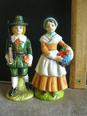 Vintage Pilgrim Figurines Ceramic 1970's Thanksgiving Holiday Decorations Decor