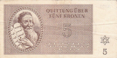 5 Kronen Fine German Concentration Camp Note From Theresienstadt 1943!
