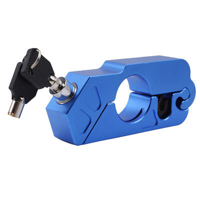 Blue Motorcycle Handlebar Grip Brake Lever Lock Anit Theft Security Caps-Lock S