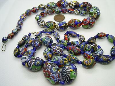 Two Antique Venetian Glass Millefiore Bead Necklaces For Re-Stringing One Matte