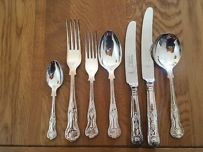 Kings Pattern Cutlery Set~42 Pieces~Heavy A1 Epns~Eben Barker Sheffield