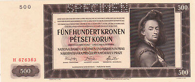 500 Korun Unc Banknote From Bohemia-Moravia 1942!nazi Occupation Issue!pick-11S