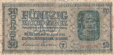 50 Karbowanez Vg Banknote From Ukraine 1942!nazi Occupation Issue!pick-54