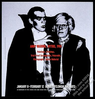 2000 Andy Warhol and Dracula photo NYC gallery show vintage print ad