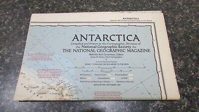 Original September 1957 National Geographic Society ANTARCTICA map