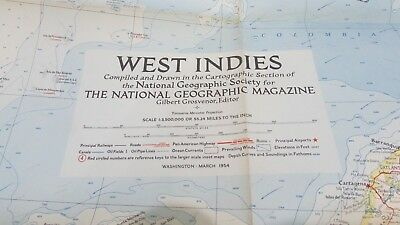 Original March 1954 National Geographic Society WEST INDIES map