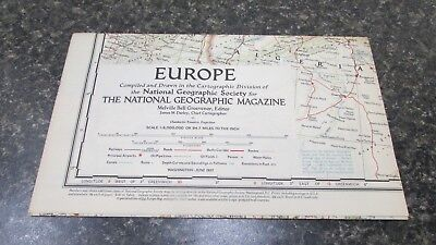 Original June 1957 National Geographic Society EUROPE map