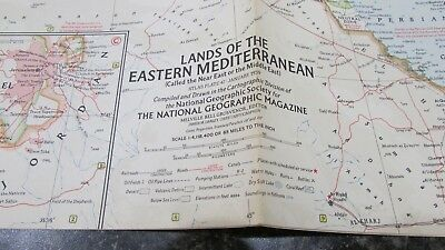Original January 1959 National Geographic Society EASTERN MEDITERRANEAN map