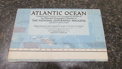 Original December 1955 National Geographic Society ATLANTIC OCEAN map
