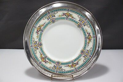 "Minton England Hand Painted Floral 12"" China Plate with Sterling Silver Rim"
