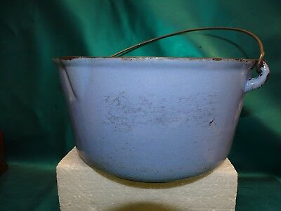 Antique Vintage 1900s Cast Iron Baby Blue Enamel W / Handle Gate Marked !
