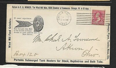 "US 1892 Advertising Cachet Cover ""The Wind Mill Man"" Chicago Ill to Akron OH,"