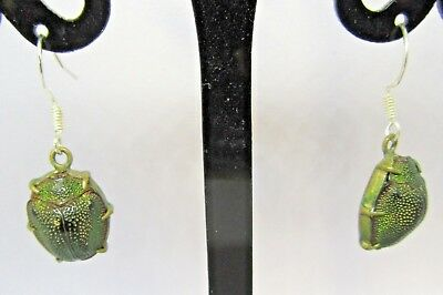 Scarce Antique Egyptian Revival Genuine Scarab Beetle Victorian  EARRINGS
