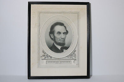 Rare ANTIQUE 1908 ABRAHAM LINCOLN PORTRAIT STEEL ENGRAVING JOHN A. LOWELL BOSTON