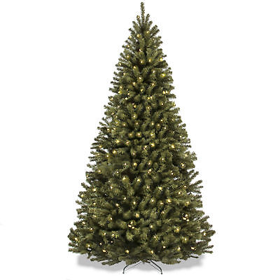bcp 75ft pre lit spruce hinged artificial christmas tree w stand green - 75 Ft Pre Lit Christmas Tree