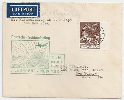 "1933 Denmark To Usa ""europa"" Catapult Cover, 5 Covers Known, Rarity"