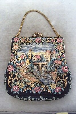 Vintage Tapestry Evening Purse Or Bag, C1940S-50S