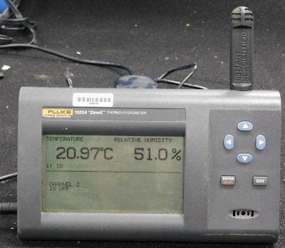 Fluke 1620A DEWK Thermo-Hygrometer & a 2626-S T/H Sensor, New LCD   GOOD