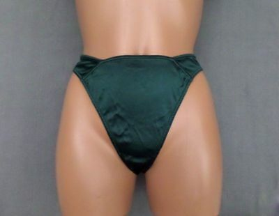 #177 Vtg VICTORIA SECRET Green Liquid Satin Second Skin  Medium Thong Panties