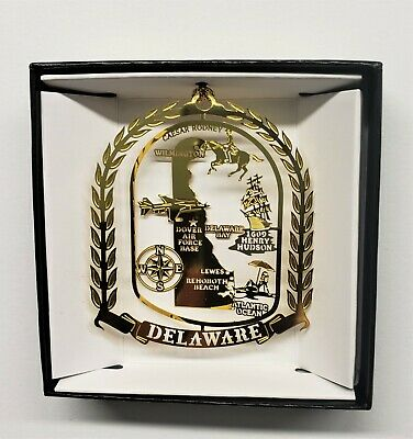 Delaware State Landmarks Brass Ornament  Black Leatherette Gift Box