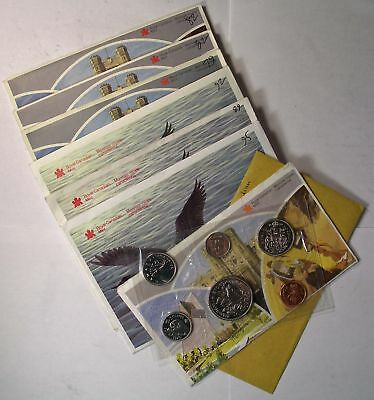 Lot of 7 CANADA 6 coin MINT SETS 1970 to 1995