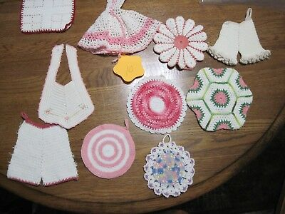 Lot of 10 Vintage Hand Crocheted Pot Holders Trivets Coasters Doilies Decor 10