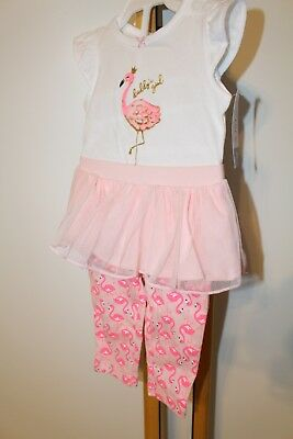 Carter's Carters Girls Size 9 Months NEW 2 Piece Outfit Top TuTu Flamingo  NWT