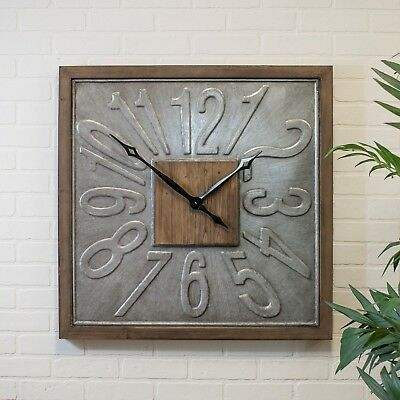 "Large Square Wall Clock Wood Framed Metal 31"" Hanging Clock with Embossed Number"