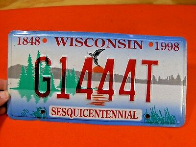 1848-1998 Sesquicentennial Wisconsin Car License Plate Tag 1997-1999  G1444T