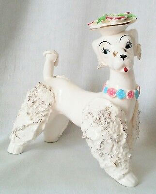 """Vintage """"Spaghetti"""" Style Poodle With 24k Gold Accents, Smear Look, Flower Hat"""