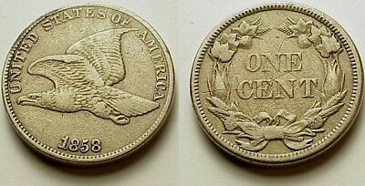 X/f+ 1858 Flying Eagle Cent-Large Letters- Strong Details! No Reserve!