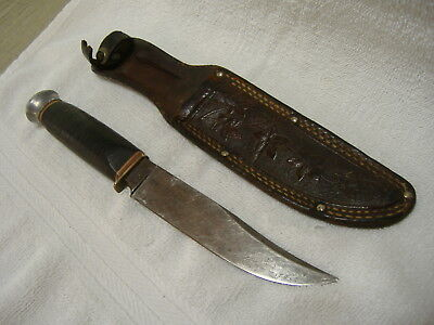 """Vintage PIC Solingen Germany Fixed Blade Hunting Knife Has 5"""" Blade"""