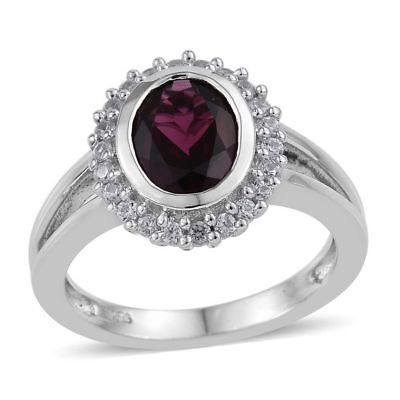 Rhodolite Garnet, Natural Cambodian Zircon Ring in Platinum Over Silver 2.5 Ct.