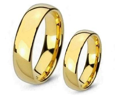 His & Hers Plain 5mm Gold Overlay Wedding Band Ring Set Choose Any 2 Sizes 6-13