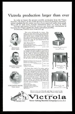 1924 Sergei Rachmaninoff Rosa Ponselle photo Nipper Victrola phonograph print ad