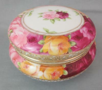 "Antique c1891 NIPPON 5.5"" POWDER JAR Pink, Red & Yellow Roses MAPLE LEAF MARK"