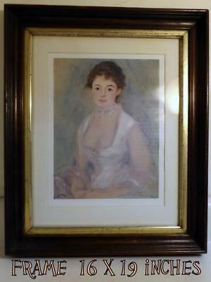 """Antique 16x19"""" Deep-Well Walnut Frame w Gold Leaf Liner Holds 12x16"""" Picture"""