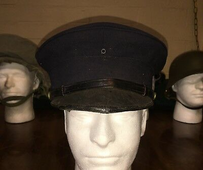Vintage Fireman's Uniform Cap Hat With Buttons By Burton Uniform Co. New York