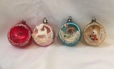 Vintage    Shiny Brite    Glass Diorama Christmas Ornaments Indents