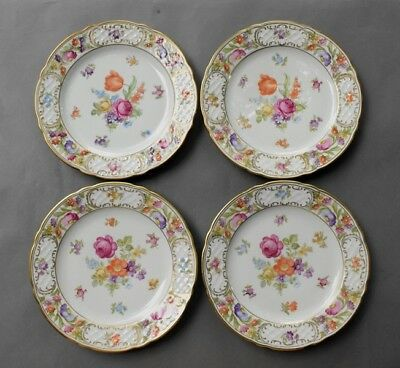 "4 Vintage SCHUMANN Germany Empress Dresden Flowers 7 3/4"" Salad Plates PERFECT"