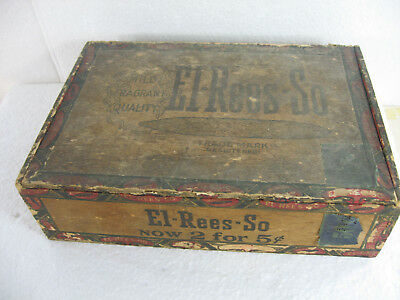 Antique  old vintage wood cigar box.  El Rees-So. 2 for 5 cents.  NC.