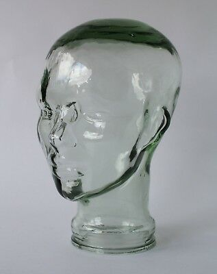 Vintage Retro 60s GLASS MANNEQUIN HEAD Thick Clear/Green Glass DISPLAY Hat/Wigs