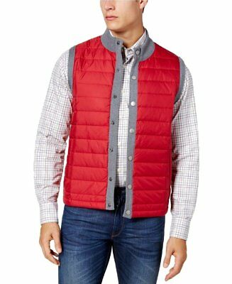Barbour NEW Red Gray Mens Size Medium M Snap Button Puffer Vest Jacket $149 #020