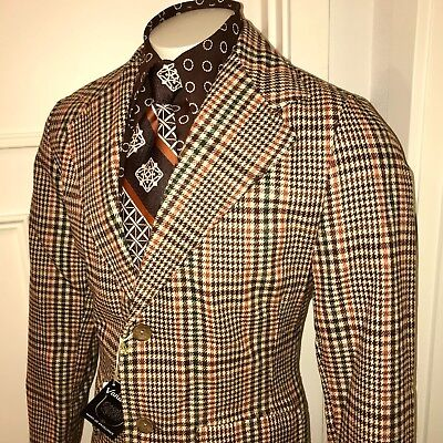 NEW Vtg 70s Vanderbilt Brown Glen PLAID Mens 38 Sport Coat Mod Jacket Blazer NWT