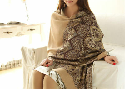 New Women's Fashion brown 100% Cashmere Pashmina Soft Warm Wrap Shawl Scarf