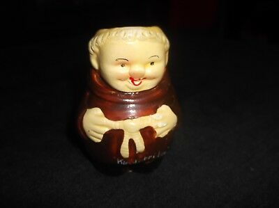 Vintage Miniature Toby Jug Monk In Brown Habit Souvenir Of Kingsbridge 2.75""