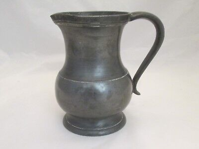 A Good French 19th Century Pewter Beer Jug / Measure