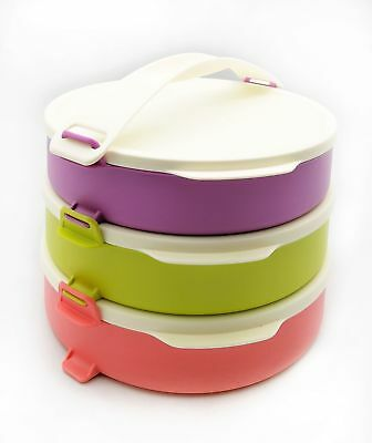Tupperware Round Click To Go 880ml Container Airtight With Handle Set Of 3