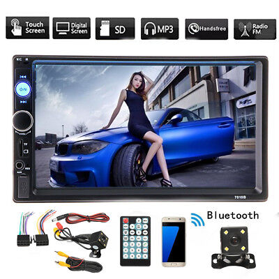 """Car Stereo Radio Bluetooth Audio Receiver Double 2 Din 7"""" Touch Screen USB AUX"""
